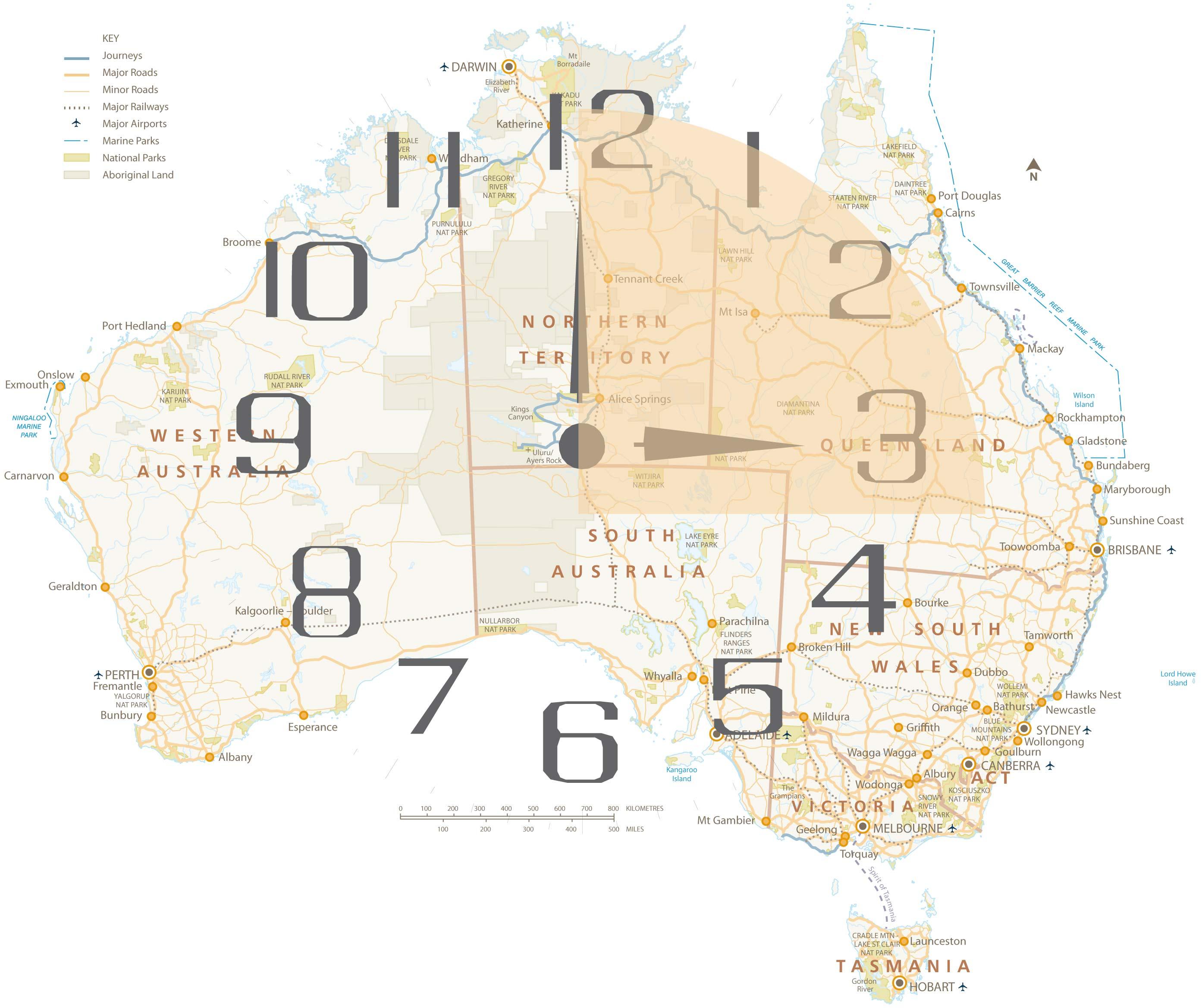 In Australien zwischen Zwölf bis Drei